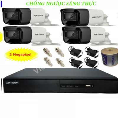 Bộ camera 4 kênh HIKVISION 2.0MP chống ngược sáng
