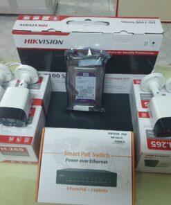 trọn bộ 4 camera IP POE HIKVISION